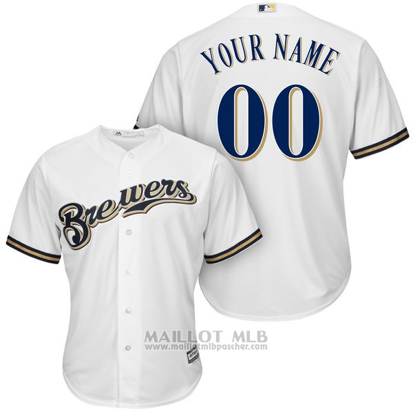 Maillot Baseball Enfant Milwaukee Brewers Personnalise Blanco
