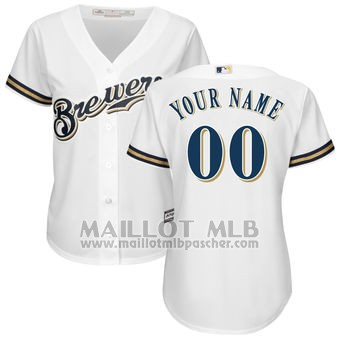 Maillot Baseball Femme Milwaukee Brewers Personnalise Blanco