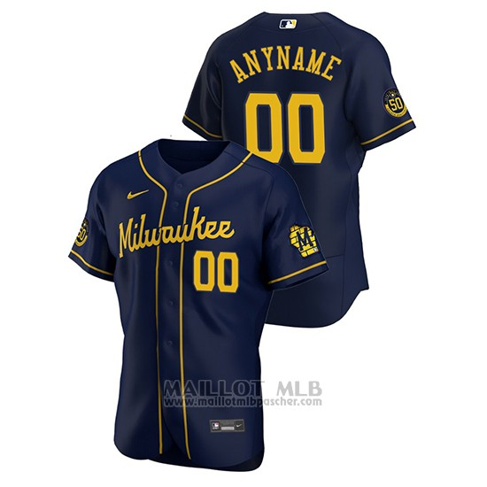 Maillot Baseball Homme Milwaukee Brewers Personnalise Authentique 2020 Alterno Bleu