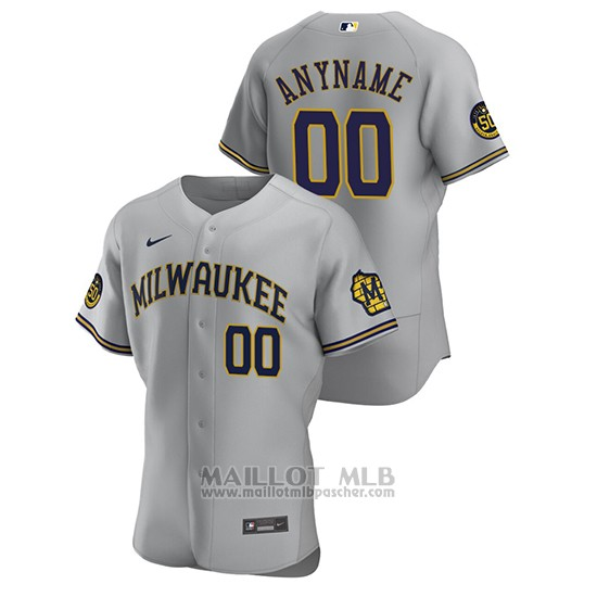 Maillot Baseball Homme Milwaukee Brewers Personnalise Authentique 2020 Road Gris