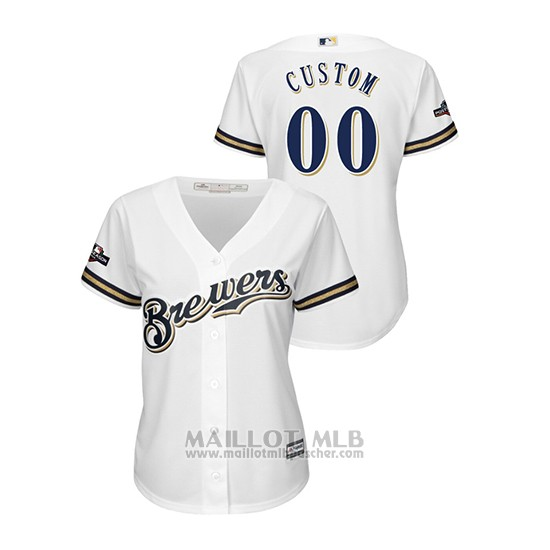 Maillot Baseball Femme Milwaukee Brewers Personnalise 2019 Postseason Cool Base Blanc