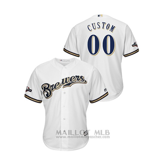 Maillot Baseball Homme Milwaukee Brewers Personnalise 2019 Postseason Cool Base Blanc