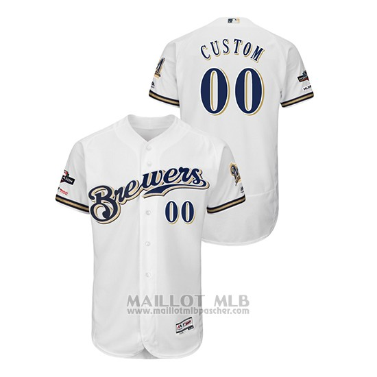 Maillot Baseball Homme Milwaukee Brewers Personnalise 2019 Postseason Flex Base Blanc