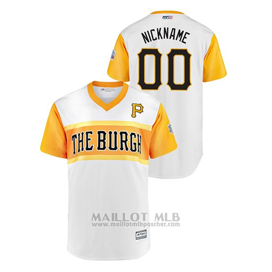 Maillot Baseball Hombre Pittsburgh Pirates Personnalise 2019 Little League Classic Nickname Replica Blanc