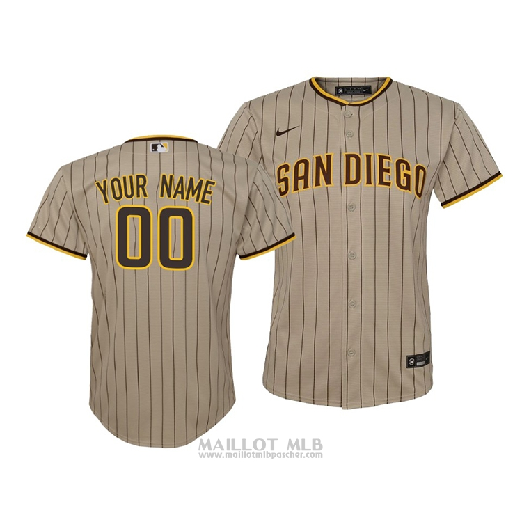Maillot Baseball Enfant San Diego Padres Personnalise Replique Cool Base Marron