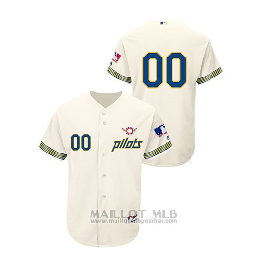 Maillot Baseball Hombre Seattle Mariners Personnalise Turn Back The Clock Authentique Cream